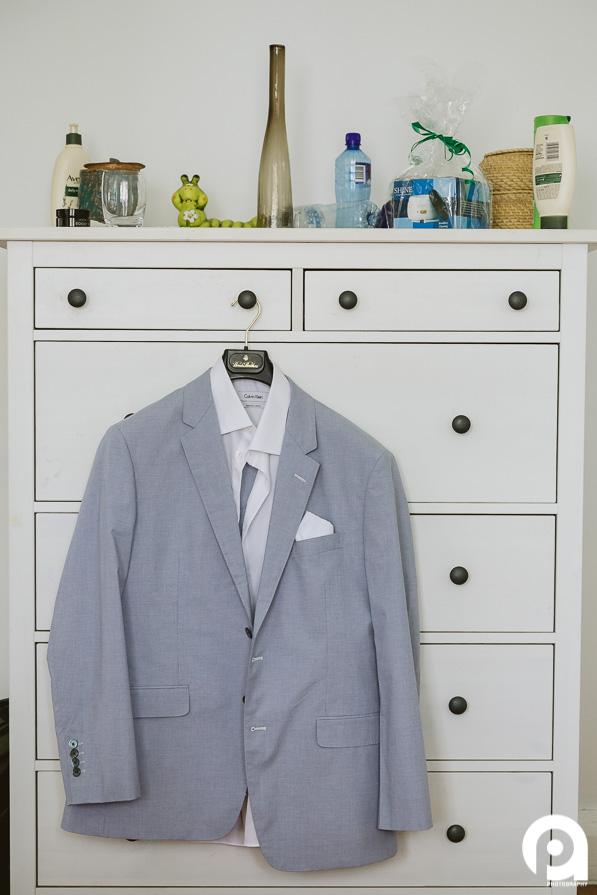 Groom's Calvin Klein suit
