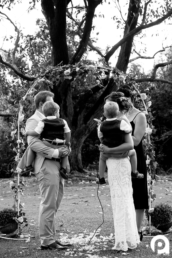 This is such a beautiful moment for me - both bride & groom holding one of their children each, saying their wedding vows like it was a walk in the park!