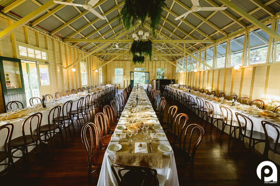 The stunning Athol Hall setup with 3 long tables, giving the whole reception a big family dinner/rustic feel.