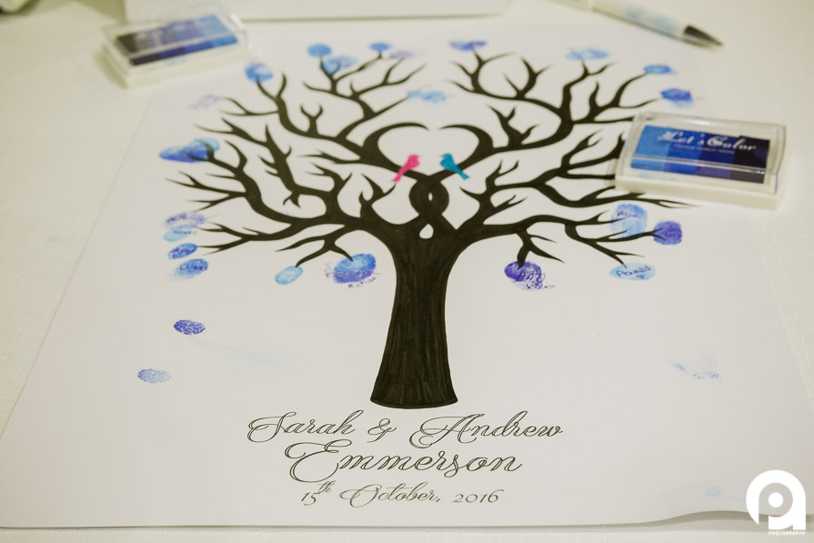 "A great idea for a ""guestbook"" is a fingerprint tree."