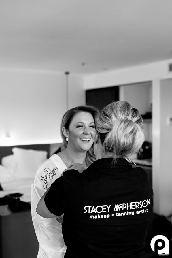 Chelsea getting some last minute touch-up's by Stacey McPherson Makeup