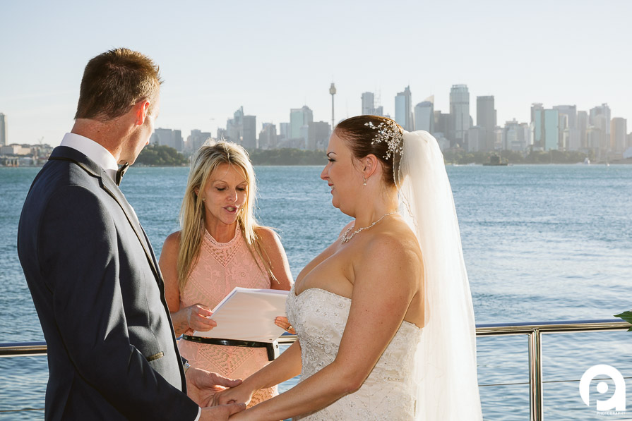 Bride & Groom stand at the top of the vessel for their ceremony