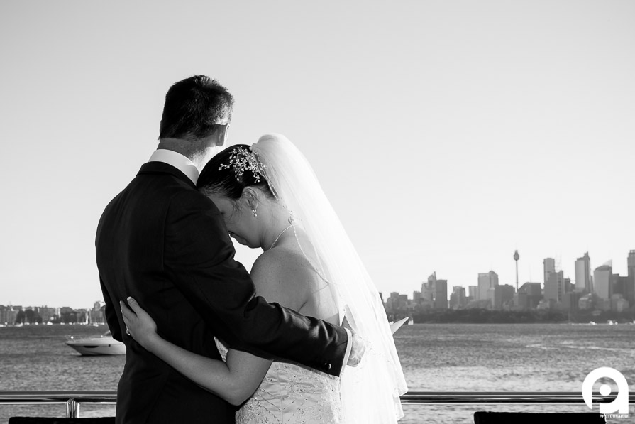 The newlyweds share a moment after their wedding ceremony