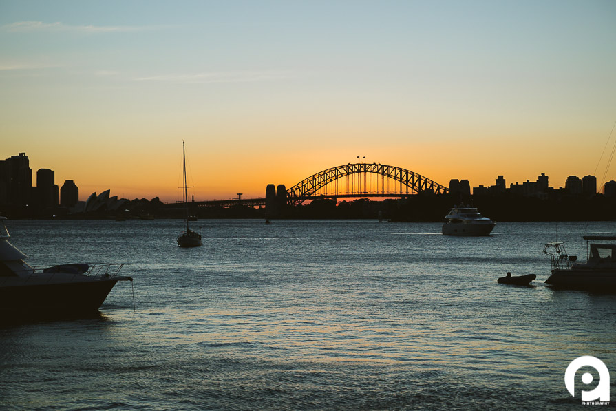 A picture-perfect sunset over Sydney harbour.